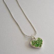 Collar Con Dije De Corazón Color Verde Nueva