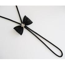 Elegante Collar De Lazo Negro Con Rhinestones Nuevo