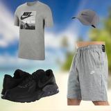 Conjunto Nike Gris:Pantalon, Gorra, Sueter Y Zapatillas