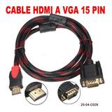 Cable Hdmi A Vga 15pin 1.5mts Monitor Cable Punta Dorada