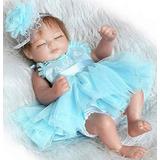 Rebon Muñeco Realista Bebe Recién Nacido Con Vestido Azul