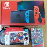 Nintendo Switch 2019 Caja Roja +4 Juegos+ Estuche