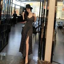 Maxi Vestido Negro, Cuello V, Estampado De Puntos.importado