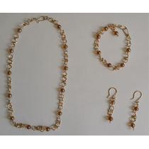Collar, Pulsera Y Aretes / Zarcillos Bañados En Oro